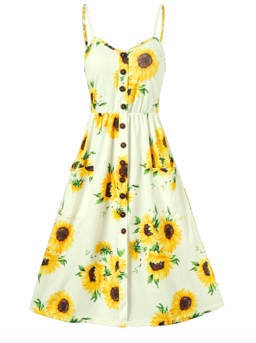 Dresslily Sunflower Print Button Up A Line Cami Dress in Yellow